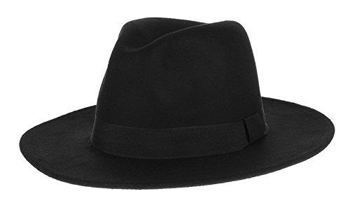 GEMVIE メンズ 帽子 中折れハット フェルトハット 無地 つば広ハット 紳士帽 フォーマル ソフトハット カジュアル オールシーズン ブラック