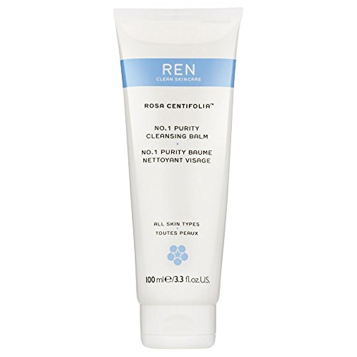 Renローザ純度クレンジングバーム100ミリリットル (REN) (x6) - REN Rosa Purity Cleansing Balm 100ml (Pack of 6) [並行輸入品]