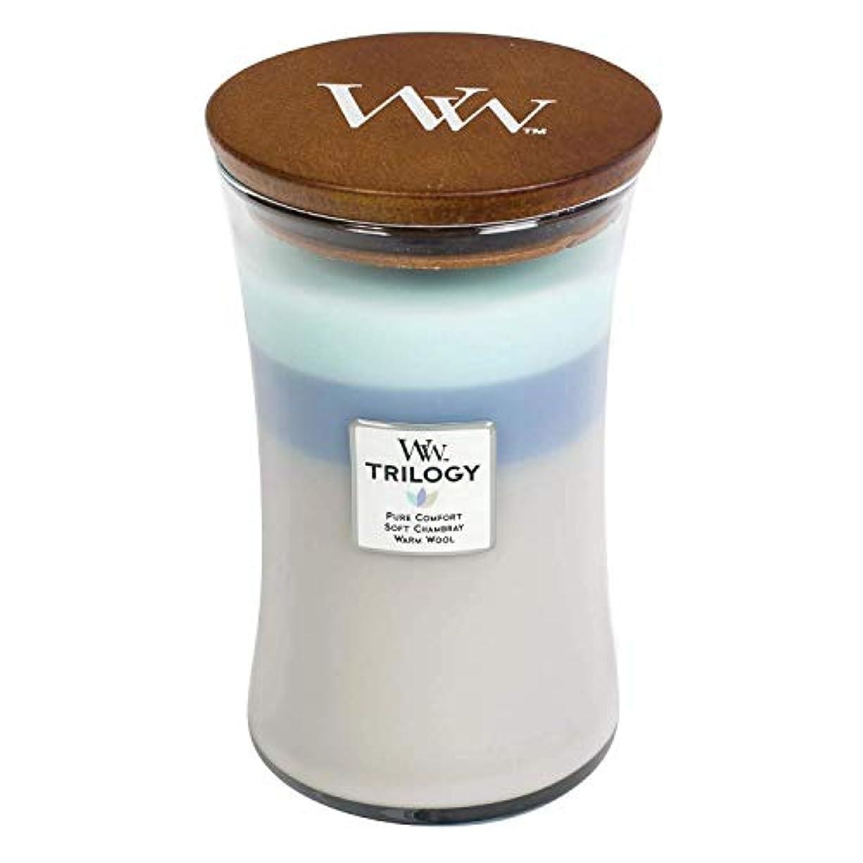 残高手のひらレルムWoven Comforts WoodWick Trilogy 22オンス香りつきJarキャンドル – 3 in 1つ