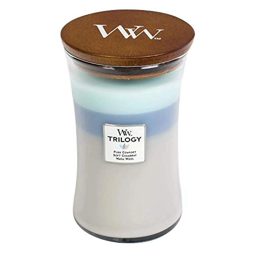 価値のない予定補正Woven Comforts WoodWick Trilogy 22オンス香りつきJarキャンドル – 3 in 1つ