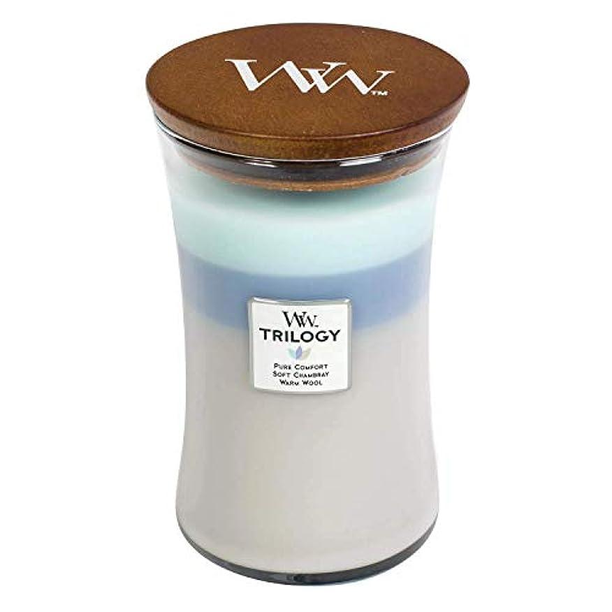 隔離するクリーナー酸度Woven Comforts WoodWick Trilogy 22オンス香りつきJarキャンドル – 3 in 1つ