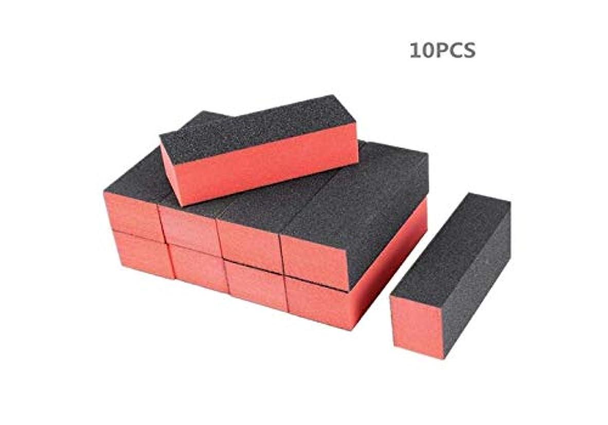ルーキーシネマ最適天然ネイルサンディングブロック用ネイルバッファー10個ネイルアートチップ用ツール家庭用およびサロン用マニキュアペディキュアツール、黒赤
