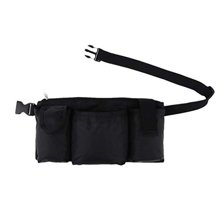 リングレット出します一生作業員 サロン 美容師 ツールバッグ ウエストバッグ 収納ポッチ 4つのポケット 防水 黒