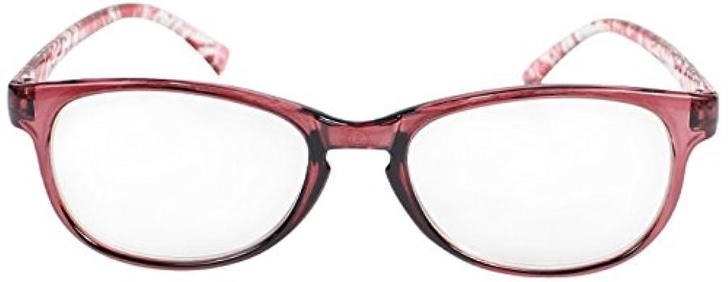 消費者歌うピクニックをするフィールドワーク 老眼鏡 ブルーライトカット レディース +2.0 度数 アジック ウェリントン ケース付き レッド LT-5210-2RE+2.0