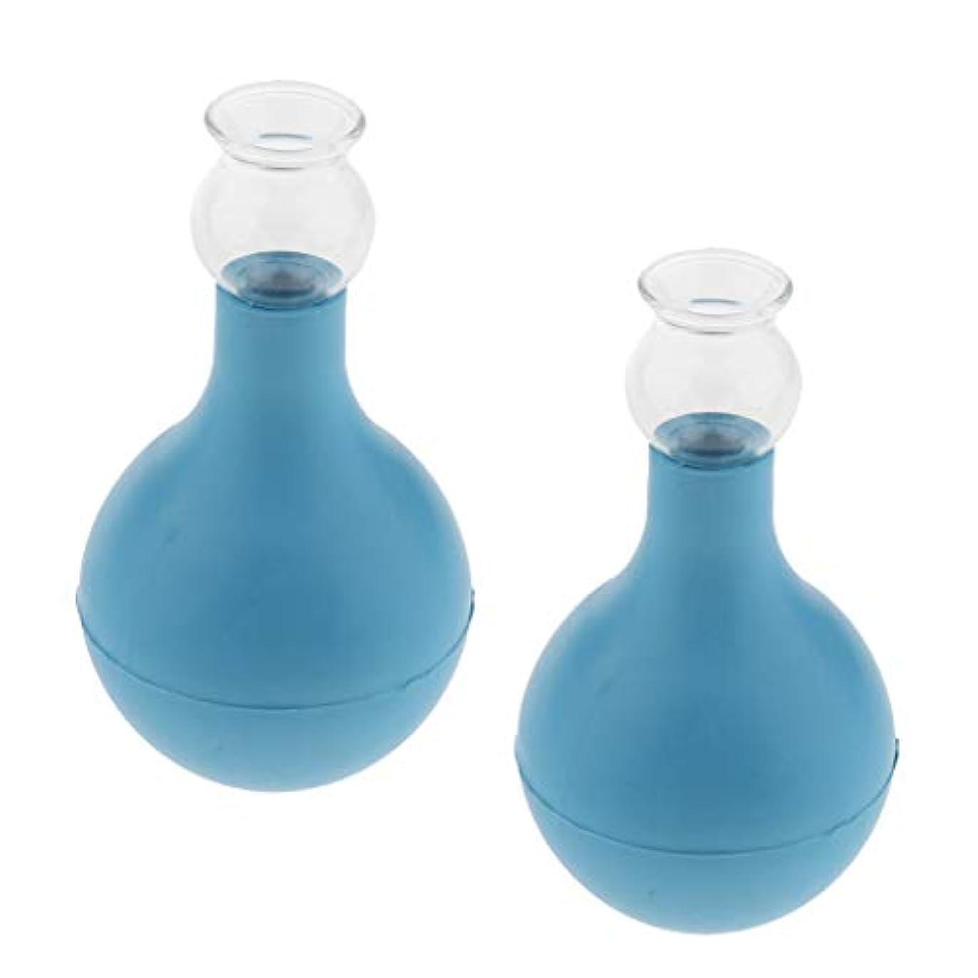 夜間合計主権者chiwanji 5PCS安全なガラス吸引真空カッピング マッサージサロン ホーム - ブルー+ブルー2cm