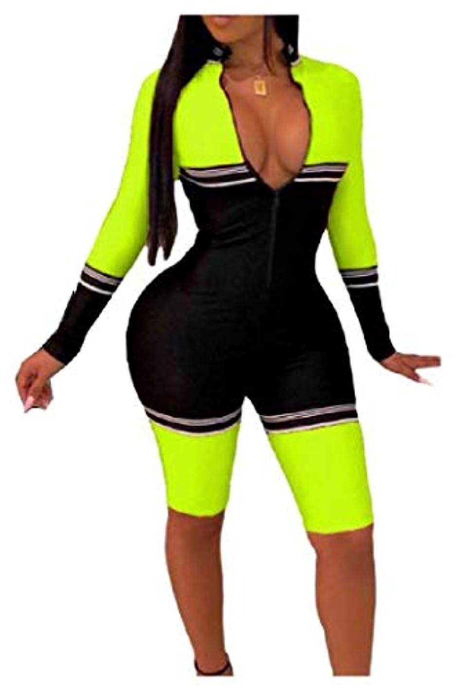 祝福する農業のクリスチャンAngelSpace Women Slim Fit Long Sleeve Zipper Spell Color Sexy Short Jumpsuit