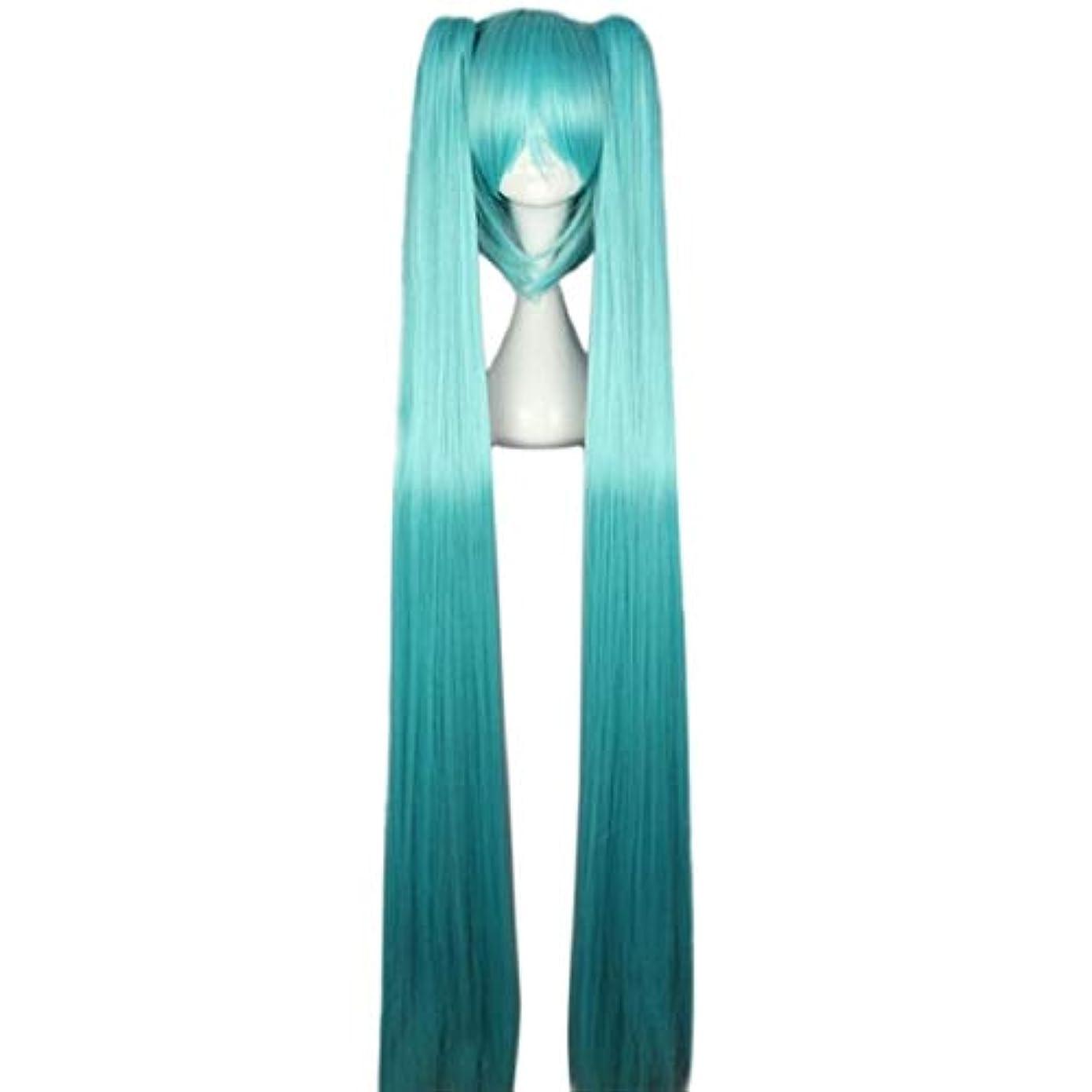 ビートスノーケル請求可能Koloeplf 女性ロングストレートブルーフルウィッグ前髪2ポニーテールアニメコスプレ髪用ボーカロイド初音ミクフィギュア (Color : LAKE BLUE)