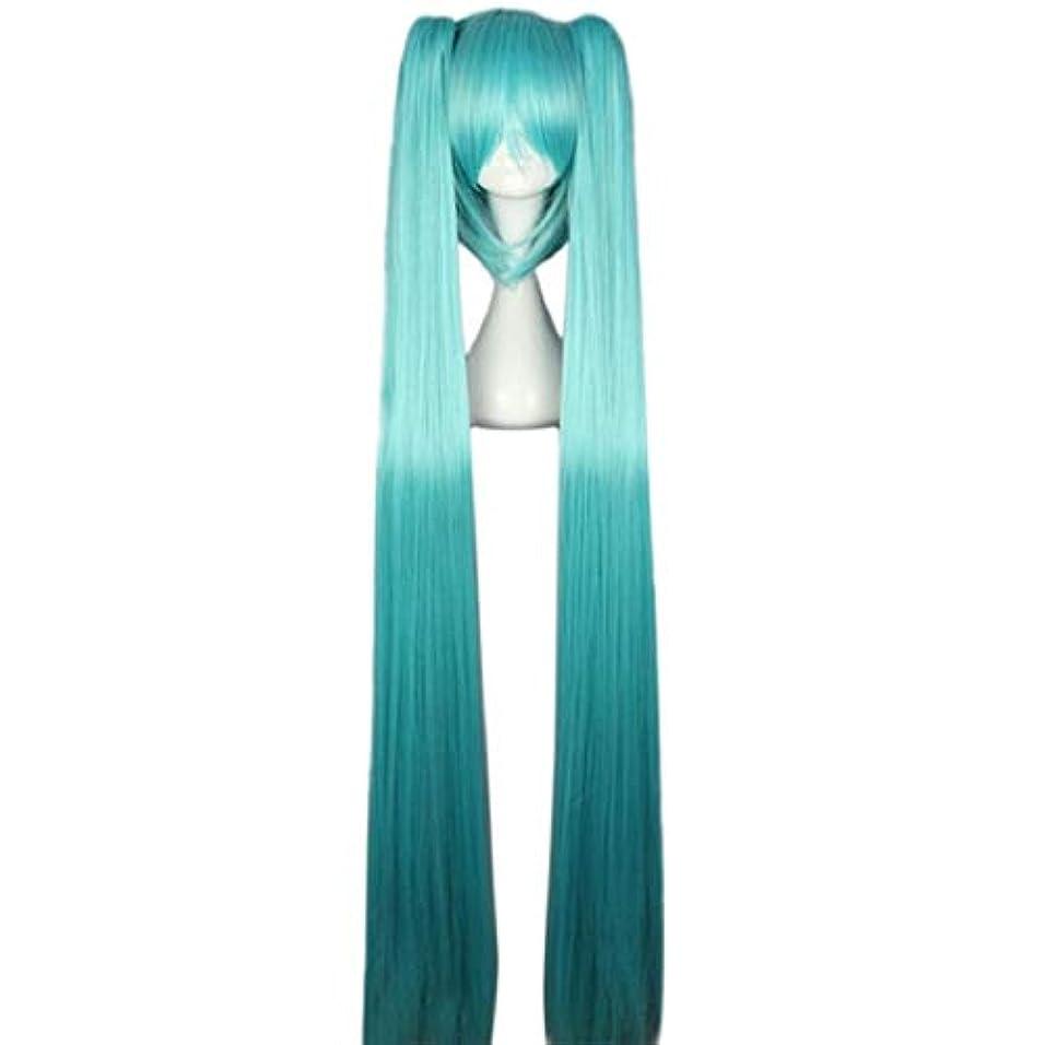 キャプテンブライ好み予算Koloeplf 女性ロングストレートブルーフルウィッグ前髪2ポニーテールアニメコスプレ髪用ボーカロイド初音ミクフィギュア (Color : LAKE BLUE)