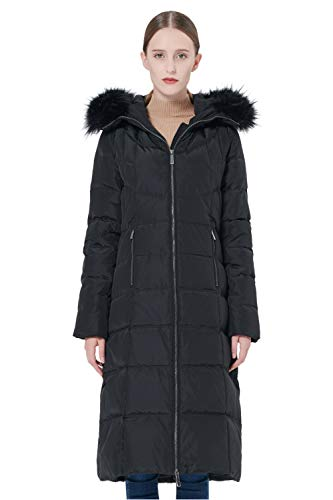 Orolay Women's Thickened Puffer Down Jacket Winter Hooded Coat Black L