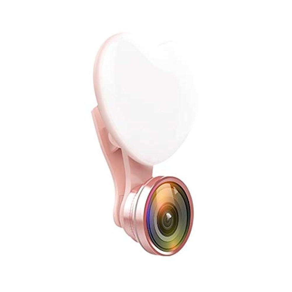 かすれた水曜日酸化物HZG ポータブルトライカラー調整明るハート型フィルライト(ブラック) 生放送用ライト (Color : Pink)