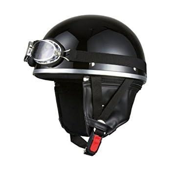 バイクパーツセンター バイクヘルメット ハーフ 半帽 ゴーグル付 ブラック 7401 FREE (頭囲 57cm~59cm未満)
