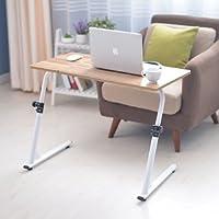 Soges 角度&高さ調節可能 机 デスク 昇降式サイドテーブル 折りたたみテーブル サイドテーブルベッド ナチュラル