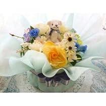 おむつケーキ 1段 アレンジフラワー風 男の子用 ブルー  おしゃれな出産祝い 結婚祝 人気ナンバーワン