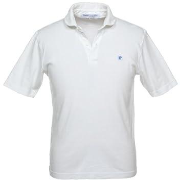 Glacon Round Collar Interlock Polo Shirt: White