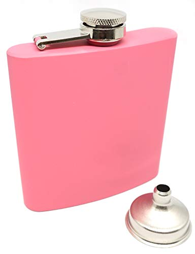Praxia カラフル スキットル 6oz 6オンス 170ml ウイスキー ピンク (つや消しタイプ) 【ロゴ入り布袋/クリーニングクロス/漏斗 付属】