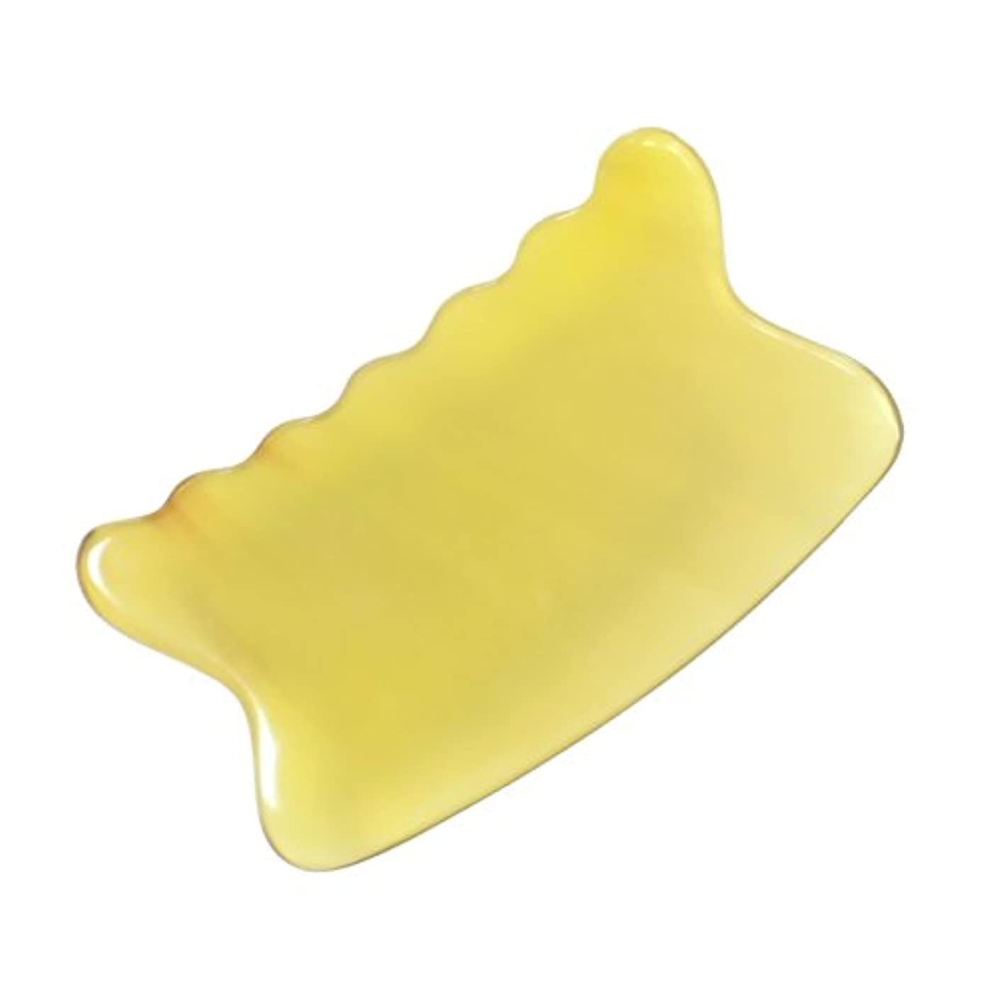パブ祝福眼かっさ プレート 希少63 黄水牛角 極美品 曲波型