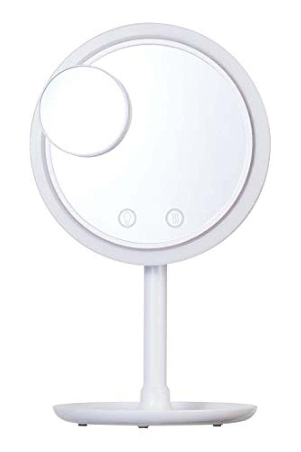 適合する解明するメールSIMPLE MIND Airy Make Fan Mirror エアリー メイク ファン ミラー 化粧鏡 SMHB-012 (ホワイト)