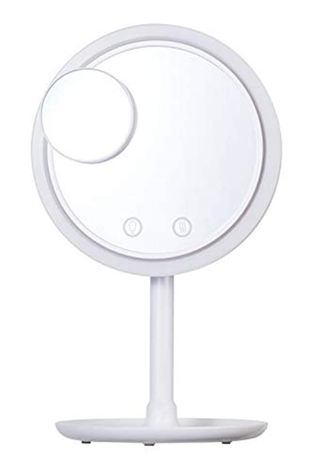発音疾患熟達SIMPLE MIND Airy Make Fan Mirror エアリー メイク ファン ミラー 化粧鏡 SMHB-012 (ホワイト)