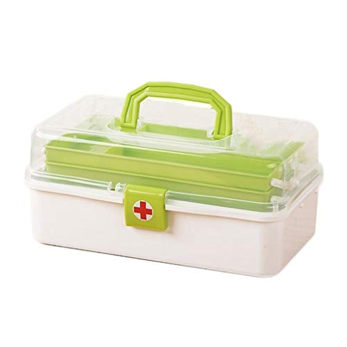 ペフ半円魔術多層家庭用薬箱大容量救急箱小型ポータブル共通薬収納ボックス HUXIUPING (Color : Green)
