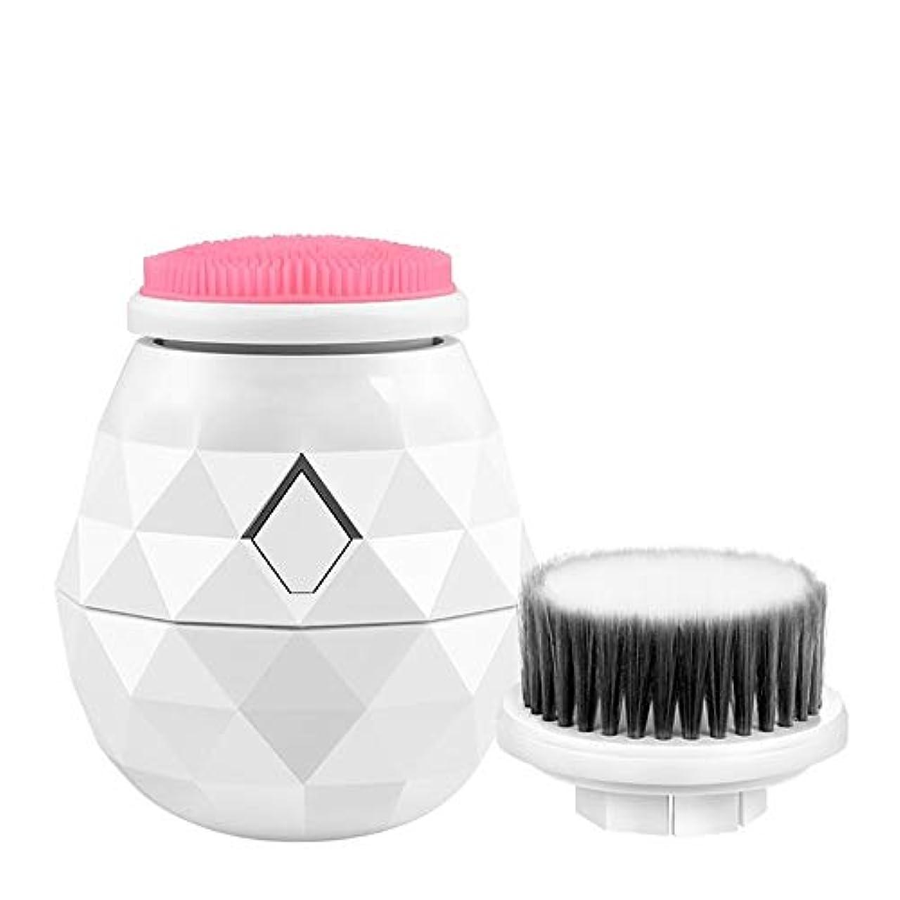 対話有効回答シリコン洗顔ブラシエレクトリック顔ブラシ顔面シリコーンにきびスクラバーアンチエイジングスキンケア防水エッセンスインポート機能 (Color : 白)