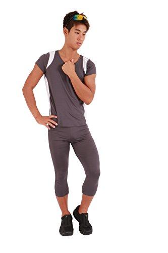 ランニングウェア 上下セット メンズ マラソン専用 マラソンウェア おしゃれ ランニングシャツ ランニングパンツ マラソンシャツ マラソンパンツ (L, グレー/ホワイト)