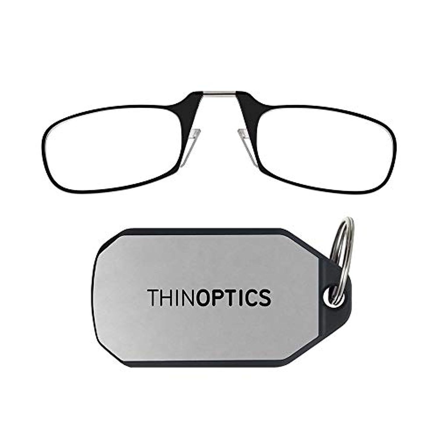 ThinOptics キーホルダー 老眼鏡 ブラックフレーム 強度2.00