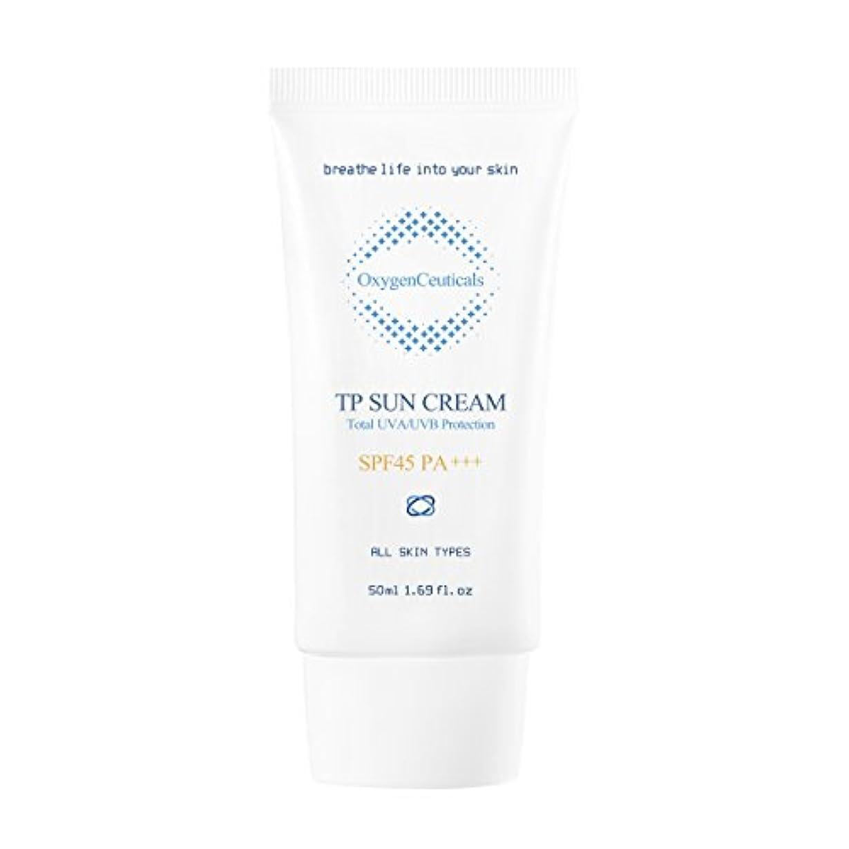 欠乏ひいきにする矩形オキシジェンシューティカルズ 酸素サンクリーム(保湿日焼け止め) 50ml. TP Sun Cream 50ml. [SPF45 PA+++] X Mask Pack 1p.