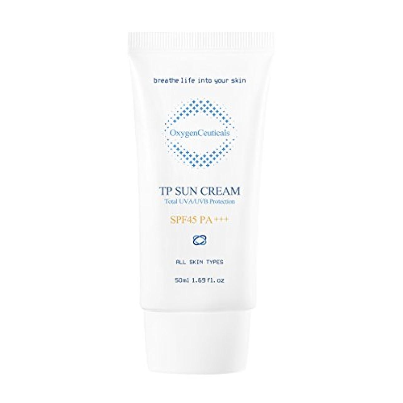 森林南極するだろうオキシジェンシューティカルズ 酸素サンクリーム(保湿日焼け止め) 50ml. TP Sun Cream 50ml. [SPF45 PA+++] X Mask Pack 1p.