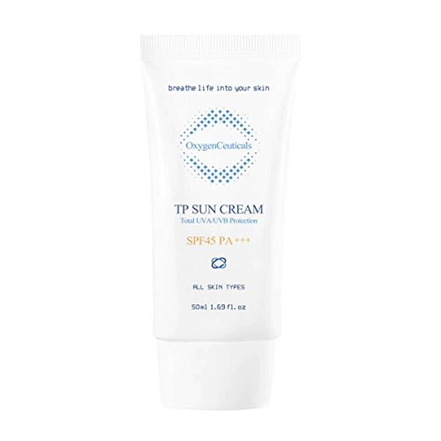 軽減注目すべきベルオキシジェンシューティカルズ 酸素サンクリーム(保湿日焼け止め) 50ml. TP Sun Cream 50ml. [SPF45 PA+++] X Mask Pack 1p.
