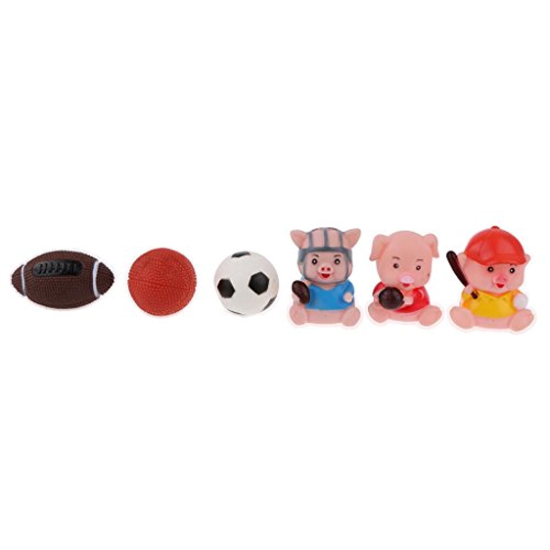 Fenteer プレゼント スクイーズ ラグビー 音が鳴る ゴム製 豚 ボール 子どもの贈り物