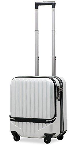 スーツケース 機内持込 軽量 小型 フロントオープン 【W-Receipt】 ハードキャリー ダブルファスナータイプ キャリーケース キャリーバッグ 前ポケット (SS-33L-スクラッチ/シャンパン)