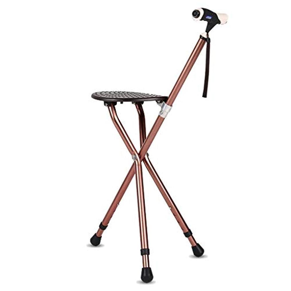 好むロイヤリティアッパー松葉杖創造的な古い杖の椅子の松葉杖のスツールの杖の古い年齢の杖多機能杖磁気療法が付いているライト座席が付いている高く、低い調節可能な滑り止めのかいグリップ,Brown
