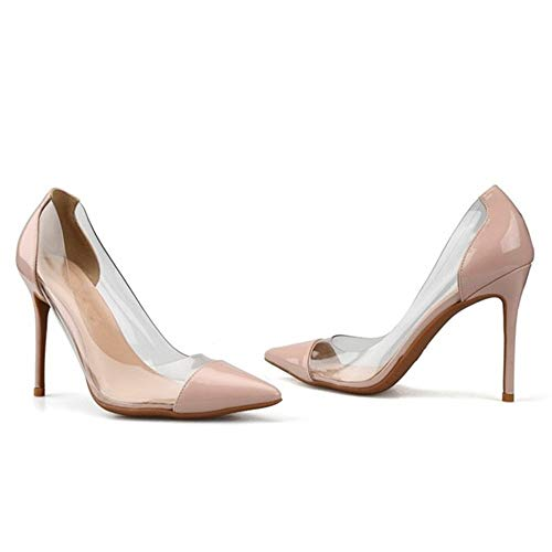 [EStart]レディスシューズ女性のためのパンプスハイスティレットヒールサイド透明ドレスパーティードレスシューズレディース用:先のとがった、ドレスシューズの古典的なスリップファッション快適(Color:Nude6cmHeel,Size:23.5cm)