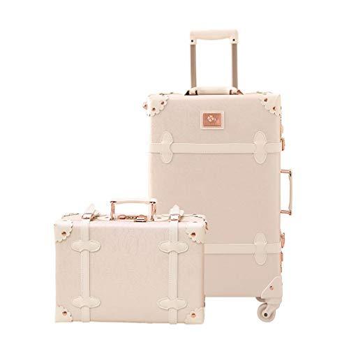 """可愛い スーツケース クラシック トランク トランクケース ホワイト 白 機内持込 キャリーケース かわいい 子供 女の子 (バラの白, S+SS(20"""" 機内持込 34L)型)"""