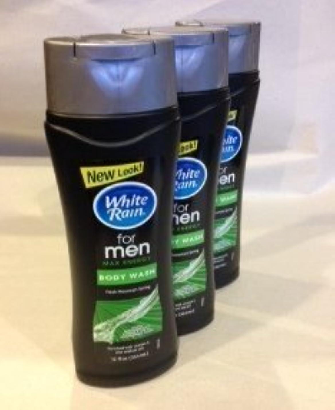 不適当熟すスリルWhite Rain for Men Body Wash - Freash Mountain Spring Max Energy (QTY 3 Pack by White Rain