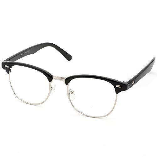 Cyxus(シクサズ)老眼鏡 ブルーライトカット[透明レンズ] リーディンググラス 半フレーム 白内障防止 目の疲れ・頭痛の緩和 目に優しい 睡眠改善 お洒落 男女兼用 黒縁(+3.00)