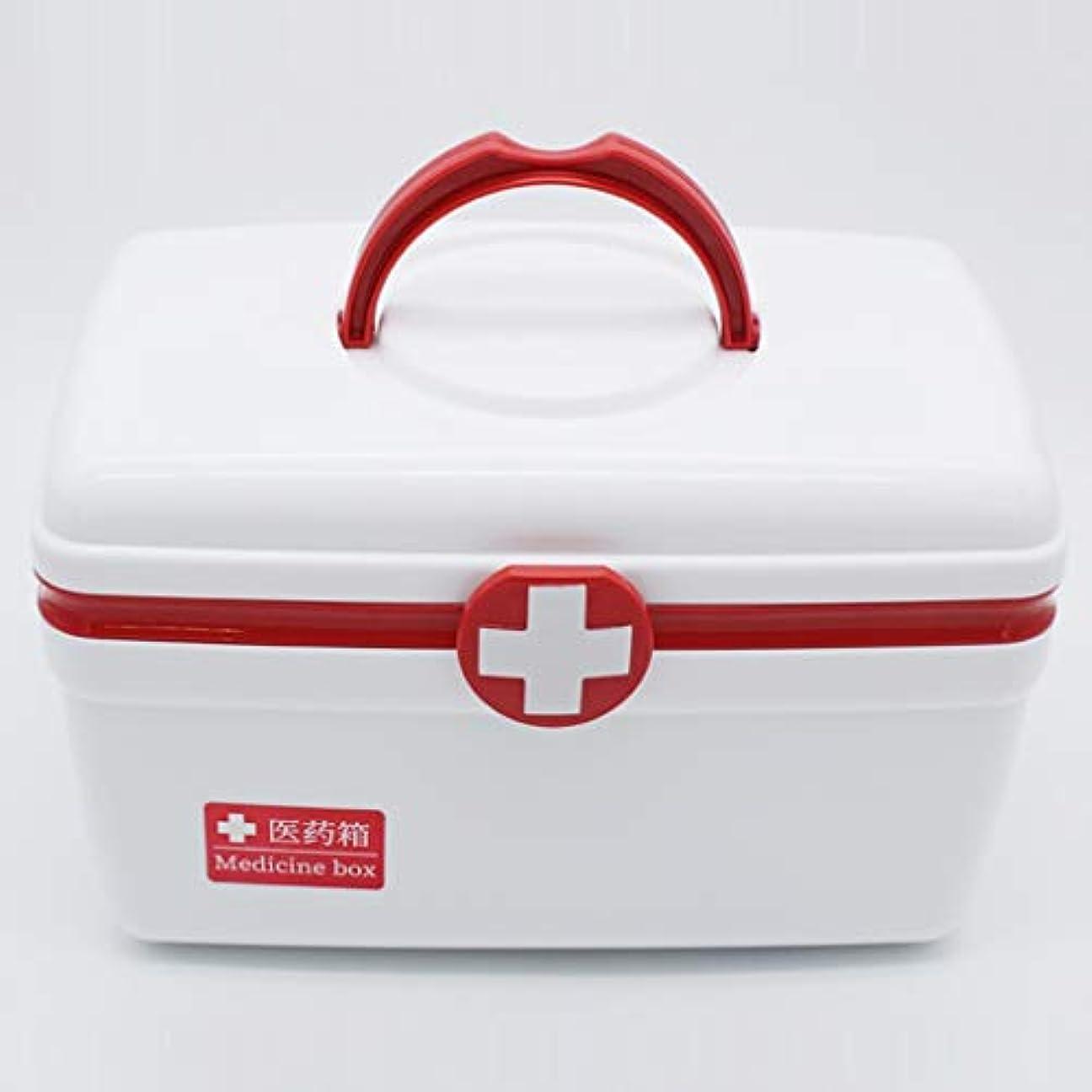スペース葡萄交じるYxsd 小さい応急処置の医学の貯蔵のオルガナイザー箱、ふたが付いている二重プラスチック収納箱 (Color : Red)