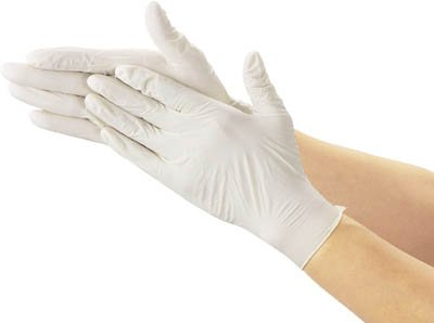 TRUSCO 使い捨て極薄手袋(天然ゴムパウダーフリー)100枚入 M 白
