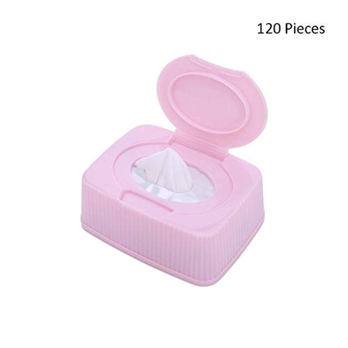 絶望的なオートハチ120ピース/ボックスフェイスメイク落としフェイシャル化粧品リムーバーパッドメイクアップコットンクリーナースキンケアワイプフェイスウォッシュコットンパッド (Color : Pink, サイズ : 120 pieces)