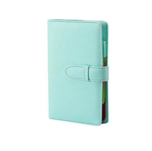 (シーク)SEEKU カラフル 合皮 システム 手帳 A5 A6 リフィル ペン カード 入れ 学生 ビジネス レザー (ライトブルー A5)