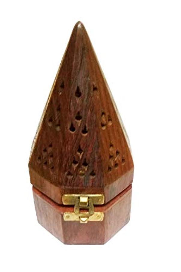 ボタン高齢者スポーツマンSahishnu オンライン&マーケティング 木製テンプルスタイル フープホルダー お香ホルダー