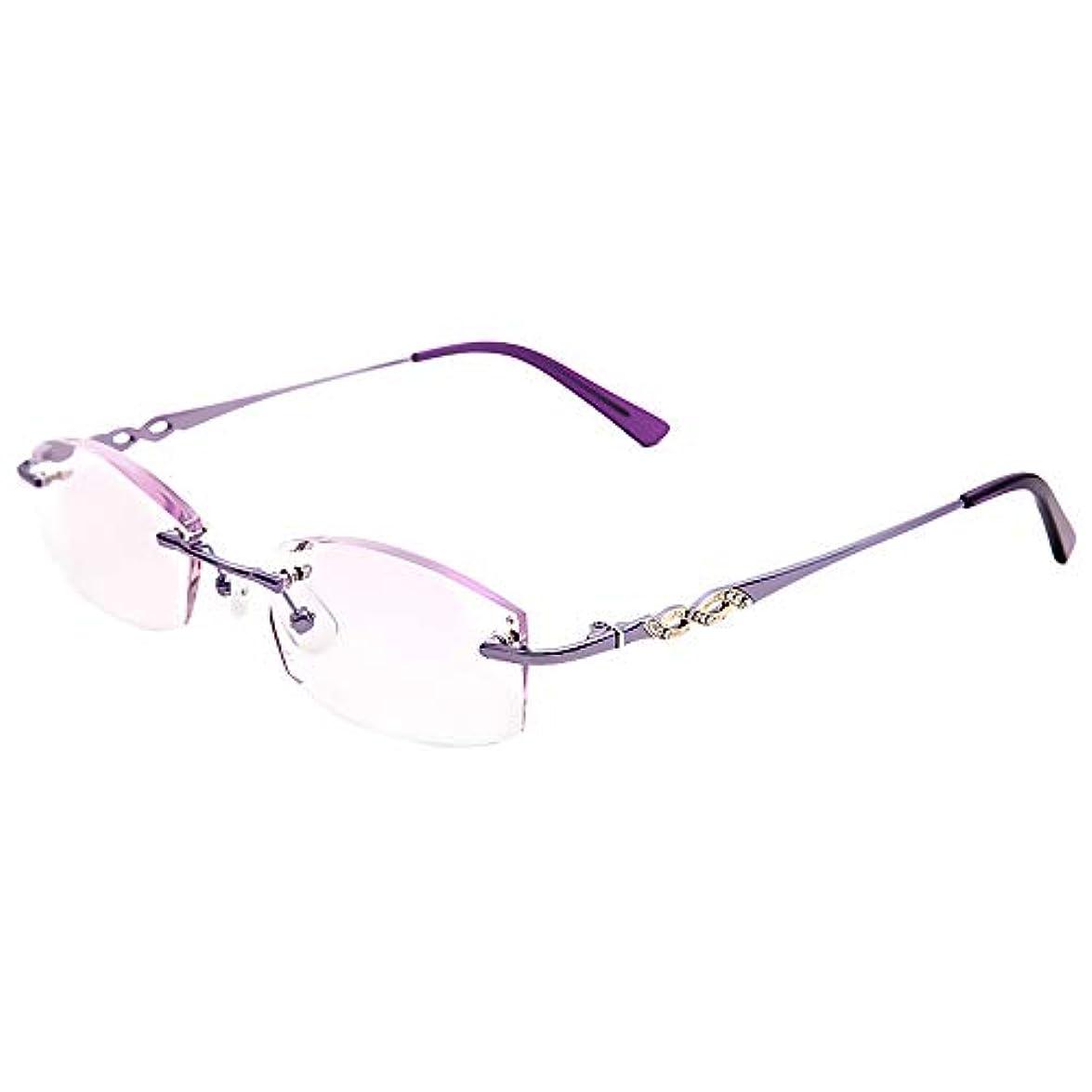 話細胞ビール老眼鏡、ダイヤモンドカットフレームレス老眼鏡女性、スタイリッシュな抗疲労超軽量メガネ、エレガントなくり抜き寺院、メガネケース付き