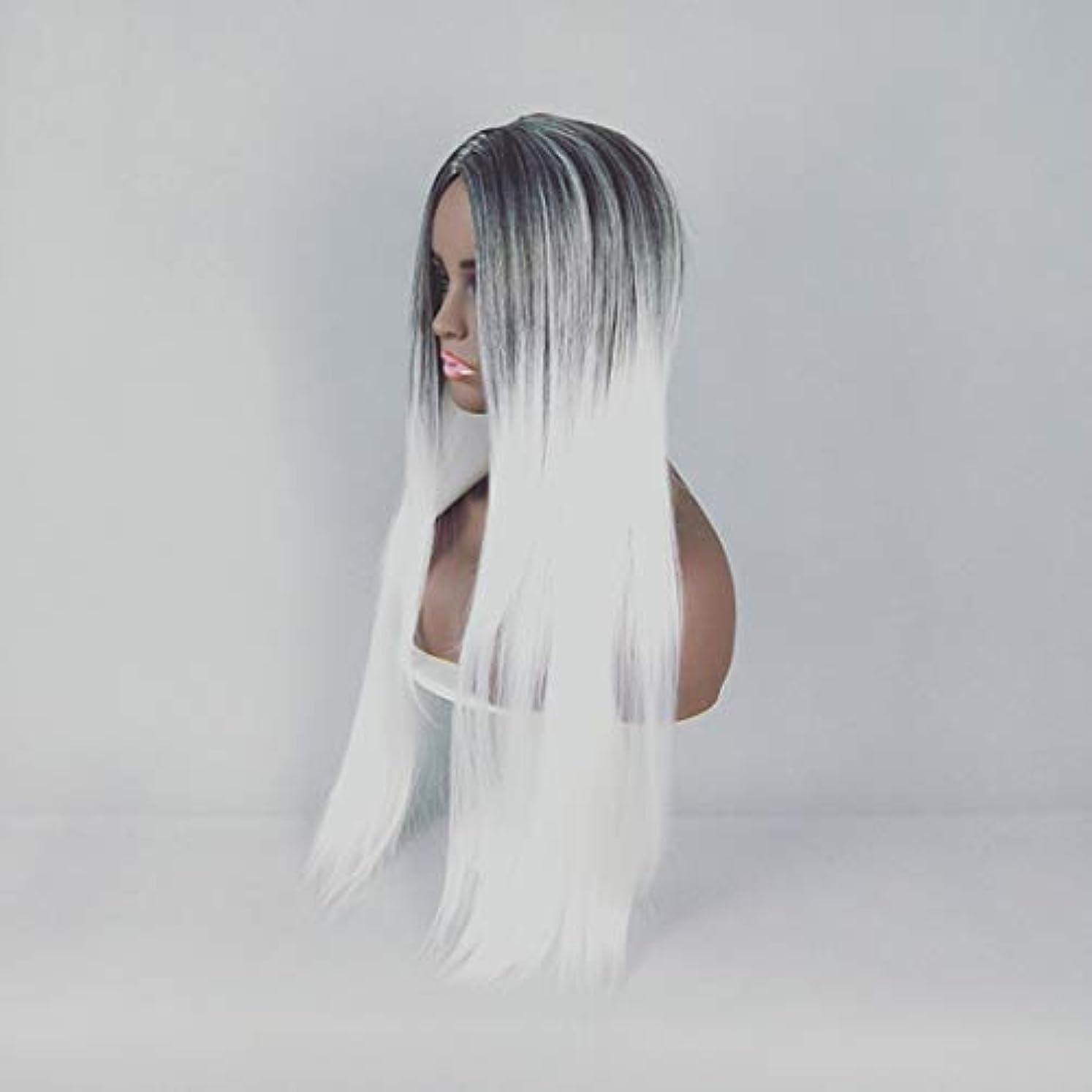 切り離すやめる将来のKerwinner 合成ストレートストレートヘアウィッグカラーグラデーションフルウィッグ女性のための前髪付き耐熱ウィッグロングウィッグコスプレ/パーティー用 (Color : White)