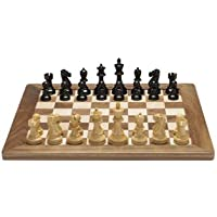 Deluxe Jacques Chess Set - Weighted Pieces with Solid Walnut & Maple Board 18 in.
