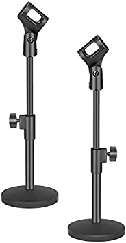 """Neewer 2 Pack Stable Desktop Mic Stand with Black Iron Base, Mic Clip and 5/8"""" Male to 3/8"""" Female S"""