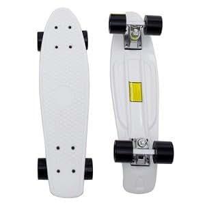 グローウィズ(GROW WITH) ステレオビニール ミニクルーザータイプ コンプリートスケートボード ウィ―ルレンチ付き ボード:ホワイト ウィール:ブラック(ペニーと同仕様)