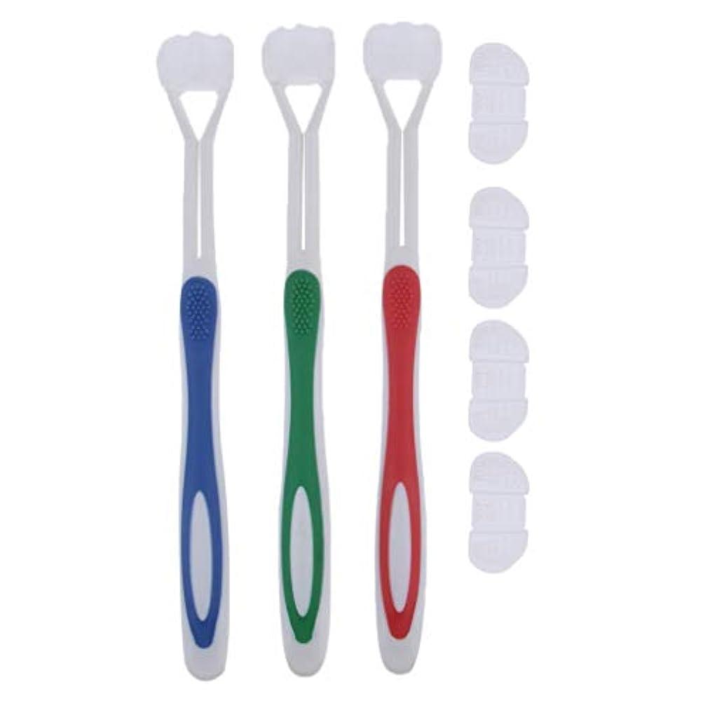 気配りのある四回迫害するHellery 3ピース/個×大人と子供用の3つの側面のシリコン歯ブラシ、4ピース/個の交換用ブラシヘ??ッド(赤、緑、青)