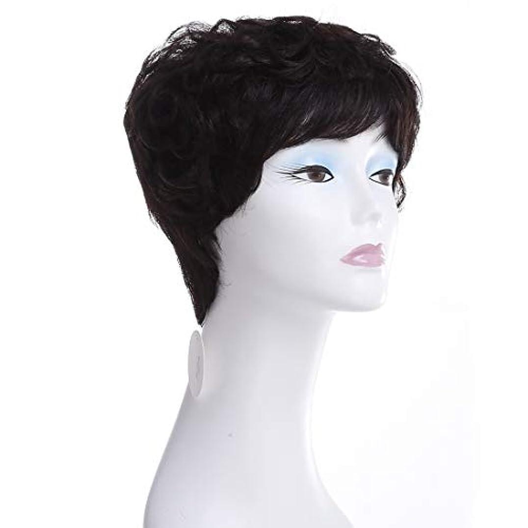 ポール単位叙情的なYOUQIU さん実ヘアウィッグヨーロッパやアメリカのショートカーリーヘアウィッグ100%リアルタイム毛ウィッグ (色 : Natural black)