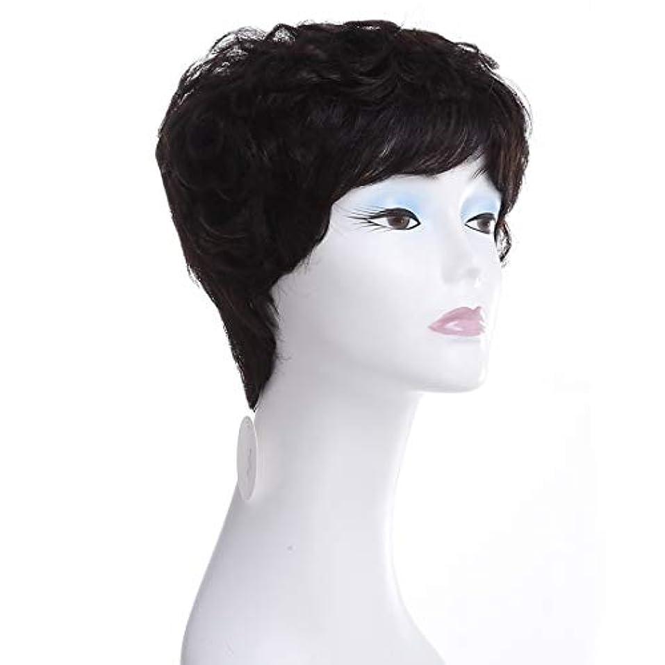 後ろ、背後、背面(部花婿系譜YOUQIU さん実ヘアウィッグヨーロッパやアメリカのショートカーリーヘアウィッグ100%リアルタイム毛ウィッグ (色 : Natural black)