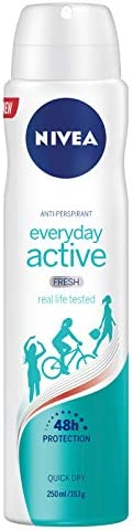 NIVEA Everyday Active Fresh Aerosol Antiperspirant Deodorant Spray, 250 ml